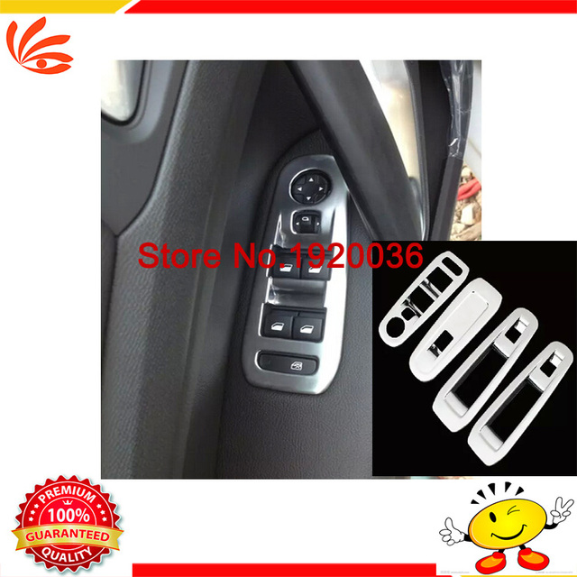 Car styling ABS Chrome Interior Door Window Switch Cover window switch penal Door Window Switch Cover Trims for Peugeot 408 2014