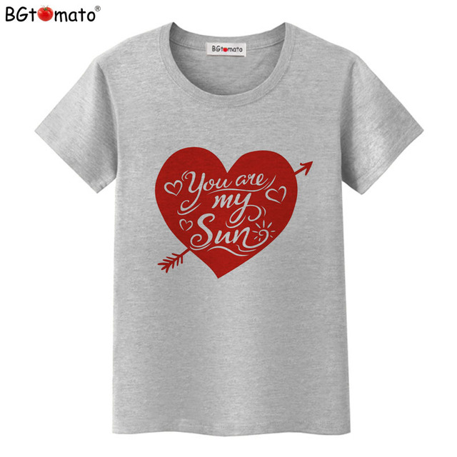77040ac99efd BGtomato T shirt You are my sun Lovely heart tshirt women New design red  heart fashion top tees Hot sale summer clothes