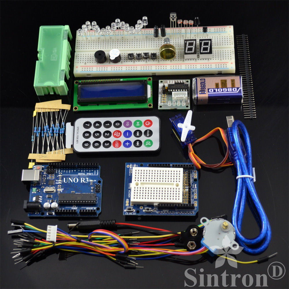 [Sintron] Arduino Uno R3 Board Starter Kit with LCD Servo Motor Sensor Module !! new starter kit mega 2560 for uno r3 stepper motor sg90 hc sr04 1602 lcd battery clip breadboard jumper wire uno r3 for arduino