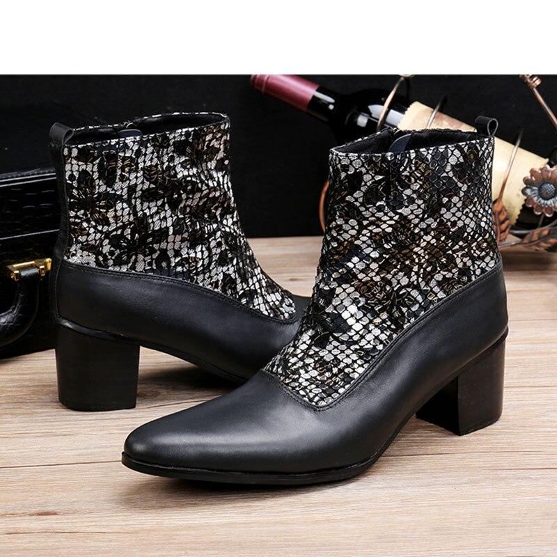 ntparker 6.8CM High Heels Botas para hombres botas militares negras - Zapatos de hombre - foto 4
