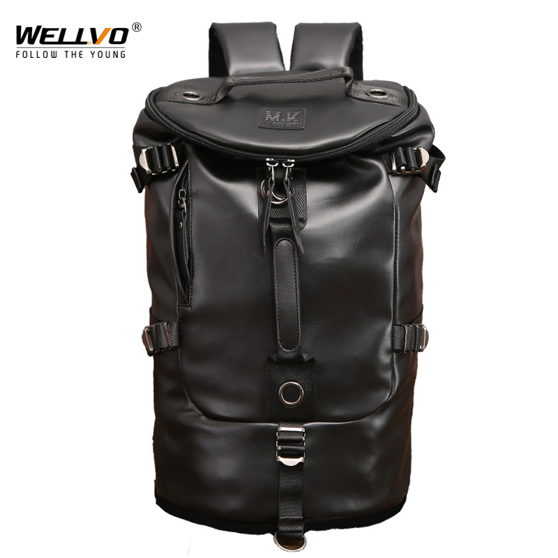 Men Military Backpack PU leather Travel Bag Large Capacity Luggage Male Backpacks Casual Fahion Travel Shoulder bags XA156WC pro biker motorcycle saddle bag pattern luggage large capacity off road motorbike racing tool tail bags trip travel luggage