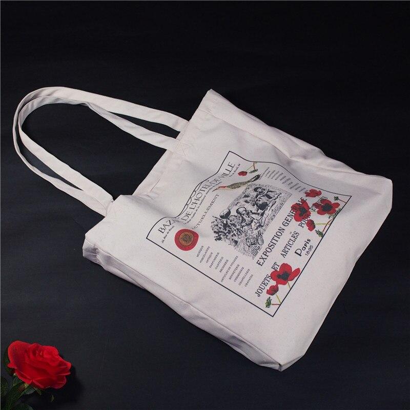 Costom Canvas Cotton Eco Shopping Tote Shoulder Bag Graffiti Flower Letters Words Adjustable Shoulder Strap QIHE