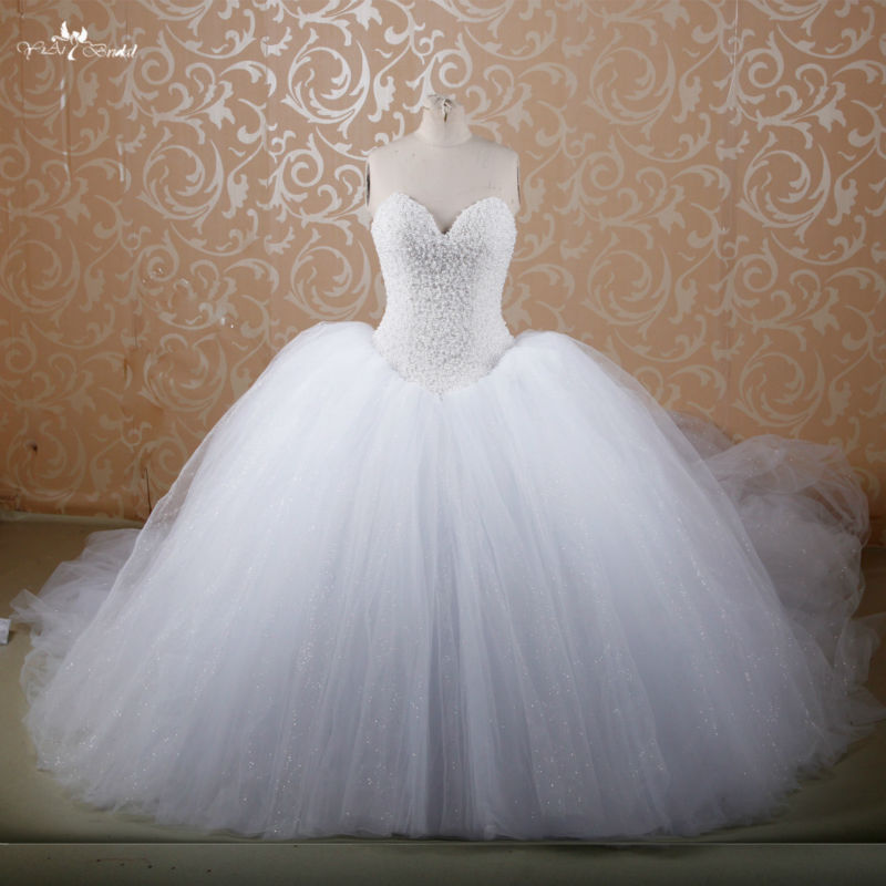 RSW607 Puffy Princesa Catedral/Royal Train Comprar Red Ball Vestido de Noiva Vestidos de Casamento Com Diamantes E Cristais