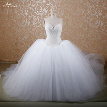 RSW607 Puffy Princess Cathedral/ Royal Train Buy Red Ball Gown Bridal Wedding Gowns With Diamonds And Crystals