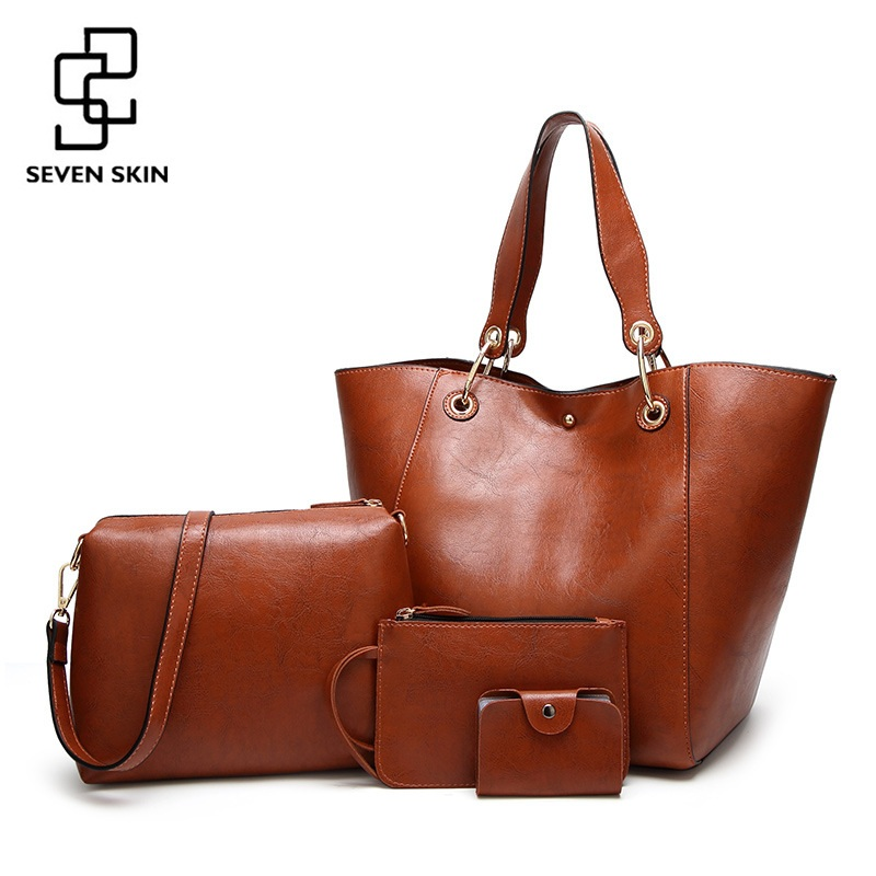 SEVEN SKIN Famous Brand Composite Bags Female Leather Handbags Women Large Capacity Shoulder Bag Casual Tote Bag bolsa feminina seven skin brand new designer women casual tote bag female vintage messenger bags high quality pu leather handbag bolsa feminina