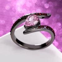 Đáng yêu Màu Hồng Ring Cho Cô Gái Với Ngọc Trai Zirconia Khối Thép Không Gỉ Vàng Đen màu Engagement Ring Cho Phụ Nữ Jewelry
