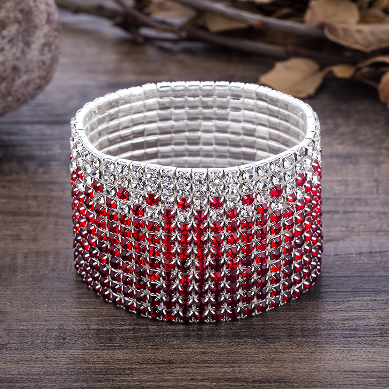 12 Rows Red and Clear Crystal Combination Wedding Bracelet Silver Plated Bridal Jewelry Rhinestone Stretch Bangles Bracelet (4)