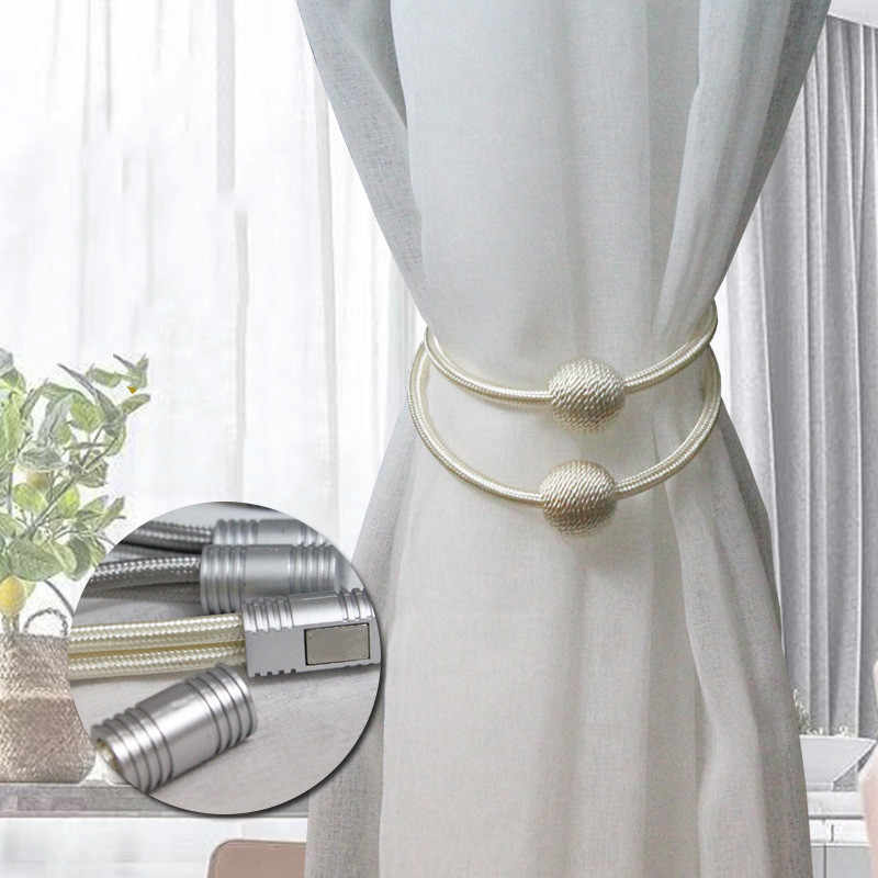 1PCS Curtain Buckle European Magnet Curtain Straps Double Ball Curtain Magnetic Straps Modern Minimalist Curtain Accessories
