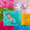 100 cm * 65 cm 3D Rose tecido branco cobertor panos bebê recém-nascido fotografia adereços Backdrops Floral Satin Rosette tecido cobertores