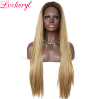 Lvcheryl Ombre Dark Roots To Blonde High Temperature Fiber Hair Hand Tied Natural Long Straight Type Synthetic Lace Front Wigs