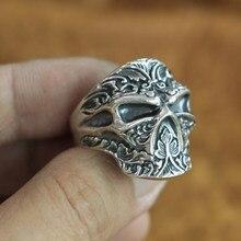 Высокие детали 925 пробы серебро ниндзя череп кольцо мужские Байкер TA121 Размер США 7~ 15
