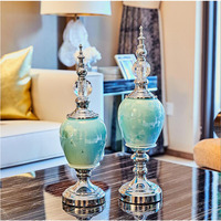 European Fengshui Home Furnishing Decoration Crafts Luxury Desktop Ceramic Ornaments Cafe Livingroom Table Figurines Accessories