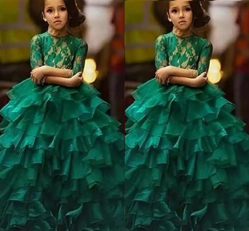 Custom Made Girl's Pageant Dresses Jewel Lace Appliques With Ruffles Cute Kids Party Ball Gown Half Sleeve Girl Pageant Dresses