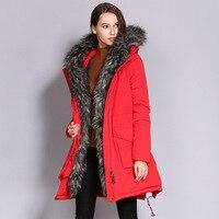 Высокое качество большой меховой воротник зима длинное пальто Женщины 2018 плюс размер утолщаются вниз хлопка с капюшоном куртки женские пов