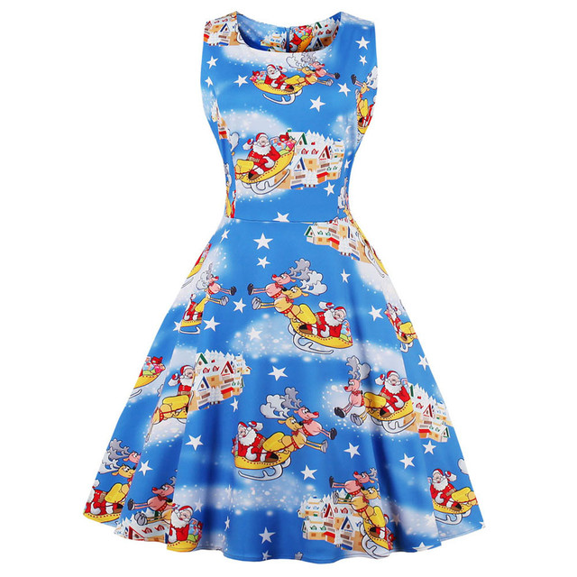 Kenancy Plus Size 4XL Women Christmas Elk Print Vintage Dress O Neck  Sleeveless Party Retro Swing Robe Dress Vestidos de festa d99d367279ec