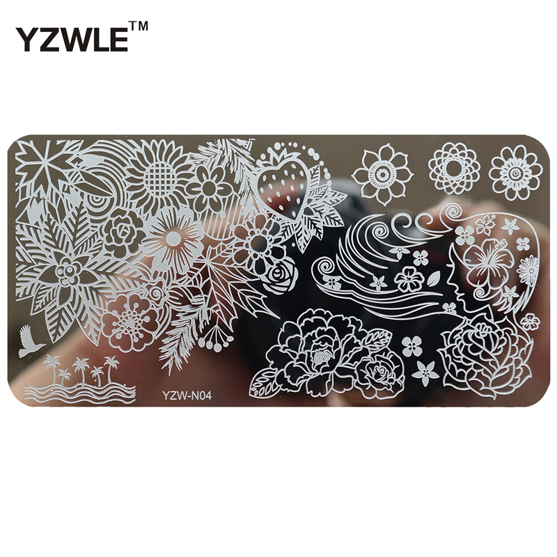 YZWLE 6cmx12cm Series Stainless Steel DIY Stamping Nail Art Image Plates Template For Manicure Salon #YZW-N04