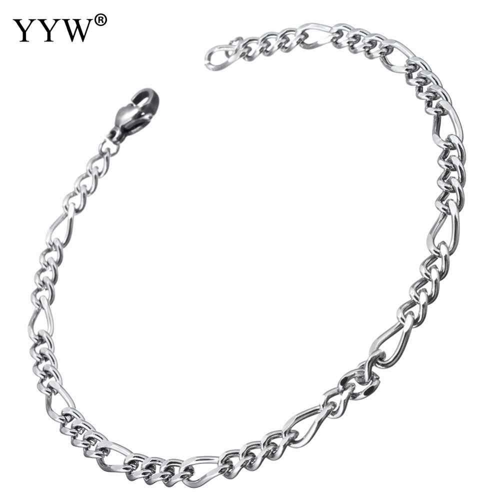2018 męskie bransoletki i Bangles nadgarstek ze stali nierdzewnej pasek ręcznie łańcuch biżuteria kolor srebrny bransoletka dla prezent dla mężczyzny pulseira