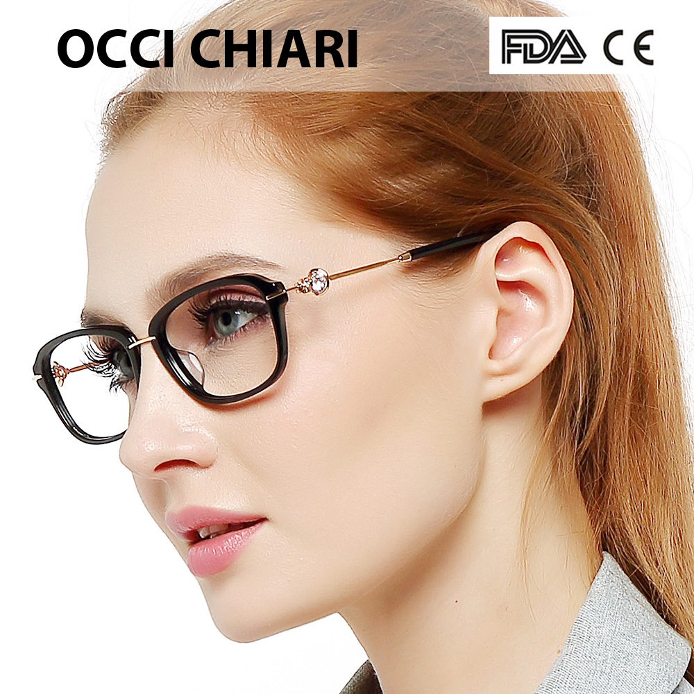 Luxury diamond fashion decorate high quality for women optical glasses clear frame handmade lens width 54mm w-cangi