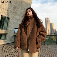 XITAO 2018 Winter Korea Fashion Female Thick Warm Faux Fur Long Sleeve Turtleneck Solid Color