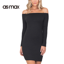 asmax 2017 Summer Black Solid Slim Women Dress Off Shoulder Knitted Sheath Mini Dress Casual Empire Chic Female Warp Dress