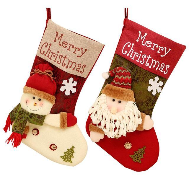 2018 Christmas Socks Christmas Tree Decorations Santa Stockings Gift Bags  Candy Bags Christmas Decoration For Shopping Mall Home - 2018 Christmas Socks Christmas Tree Decorations Santa Stockings Gift