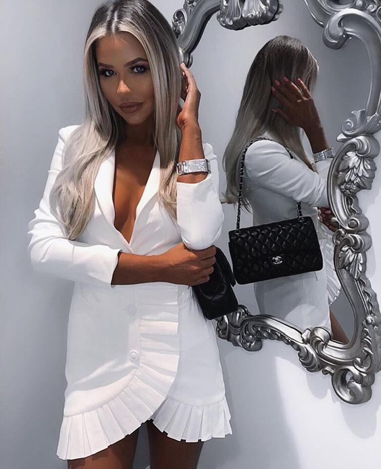 2019 Manches Robe Tenue Designer Nouveau Sexy Élégant Fête Tendance De Blanc Femmes À Longues Luxe kuiXZP