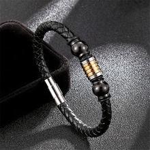 Модные плетеные черные кожаные браслеты в европейском стиле
