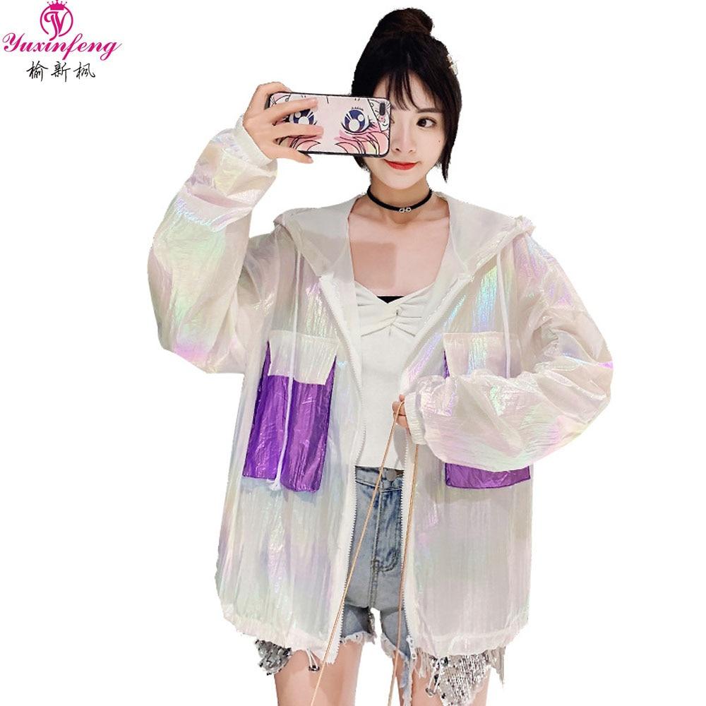 Yuxinfeng Summer Sunscreen Jacket Women 2019 Anti-bright Thin Casual Long Sleeve Hooded Basic Jacket  Female  Fashion Outwear