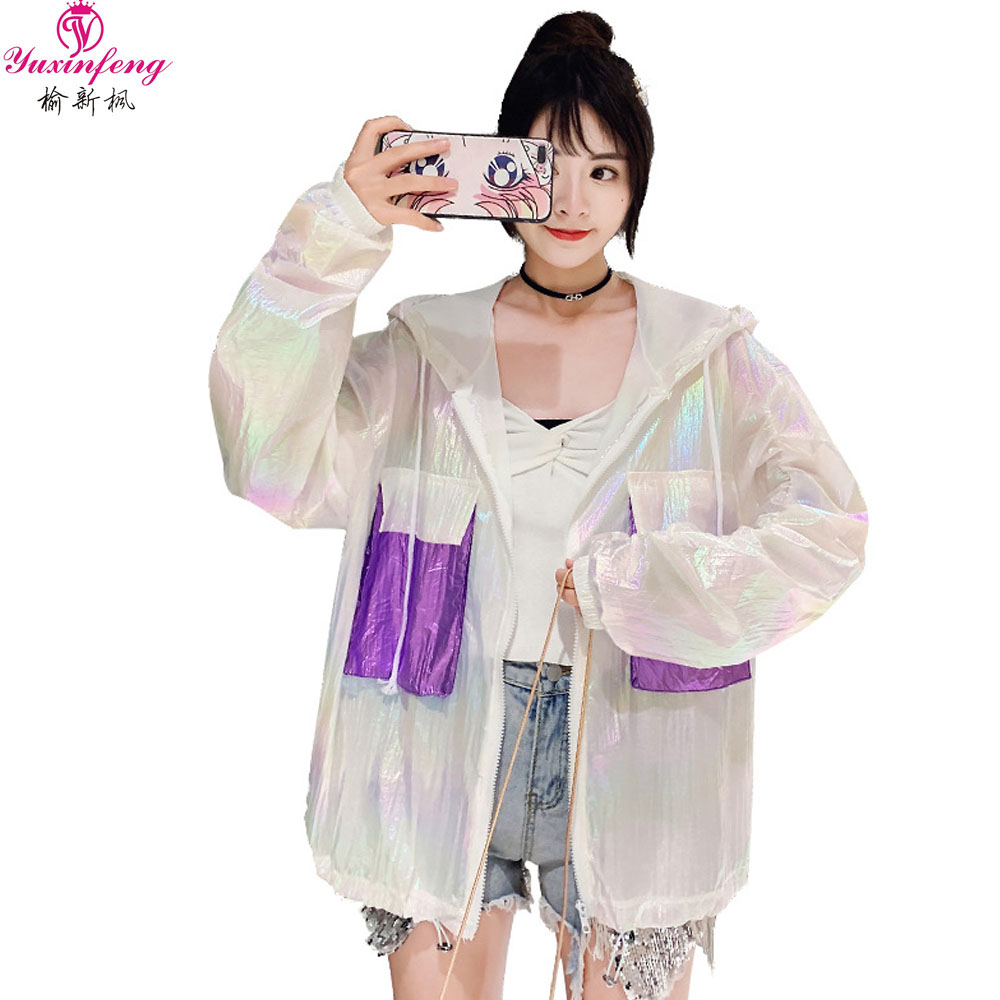 Yuxinfeng Summer Sunscreen   Jacket   Women 2019 Anti-bright Thin Casual Long Sleeve Hooded   Basic     Jacket   Female Fashion Outwear