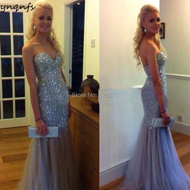 YNQNFS ED201 Elegant Crystal Dress Heavy Beaded Sexy Mermaid Evening Party  Abendkleider Vestido Formal Dress Robe de Soiree 2019 ff391c9d724f