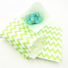 25pcs/set Green Wavy Lines Stripes Paper Gift Bags Popcorn Party Food Bag Wedding Birthday Supplies Decoration