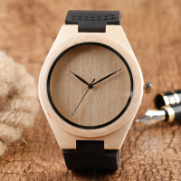 Creative Nature Wood Wrist Watch Modern Men Bamboo Watch Genuine Leather Strap Trendy Male Quartz Wooden