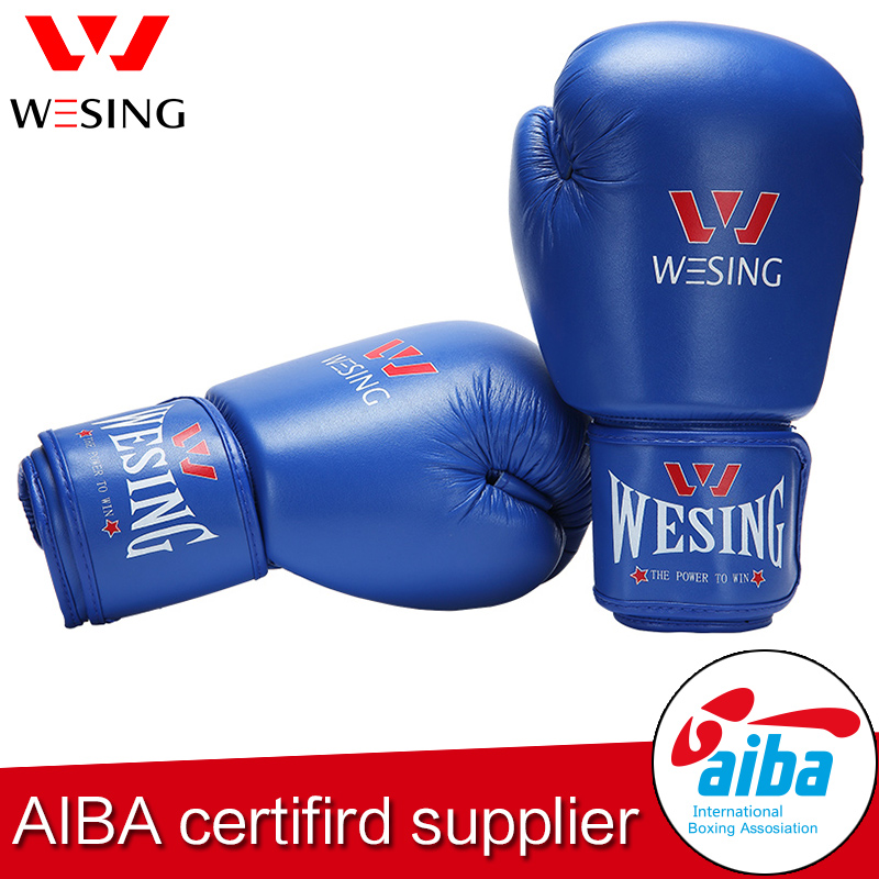 WESING AIBA Approved Boxing Gloves for Competition Blue Red MMA Sparring Fighting Kickboxing boxer Gloves with Large Size 1103A1 wesing aiba approved boxing gloves 12oz competition mma training muay thai kickboxing sanda boxer gloves red blue