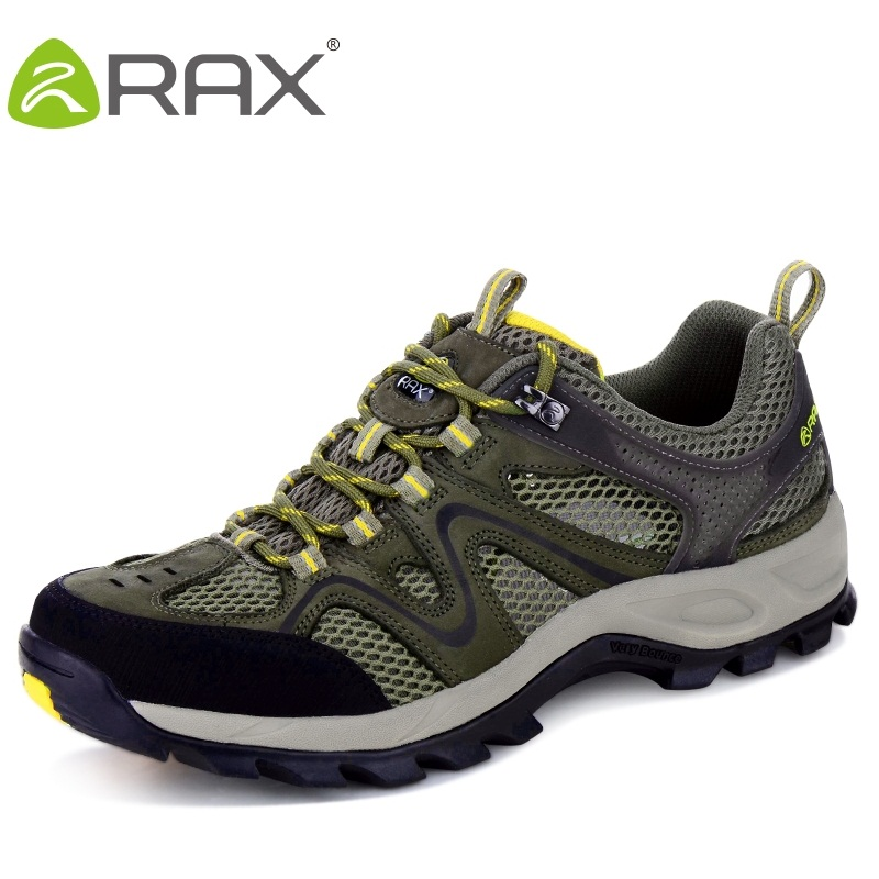 цена на Rax First Layer Leather Men Hiking Shoes Breathable Sneakers For Man Slip Damping Mountain Climbing Shoes #B2332