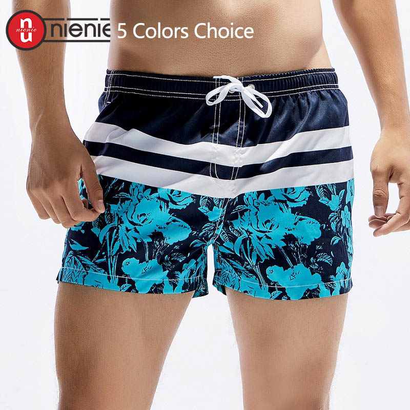 New Men's Board Shorts Solid Printed And Striped Quick Drying Shorts Summer Beach Short Pants Fashion - 5 Color Choice