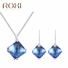 2017 ROXI Jewelry Set Charms Blue Crystal Long Necklace Stud Earrings for Mother s Gift Luxury