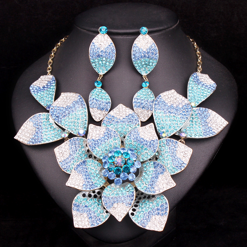 Gorgeous Bridal Jewelry Sets Wedding Statement Necklace Earring set for Brides Party costume Accessories Flower Decoration Women