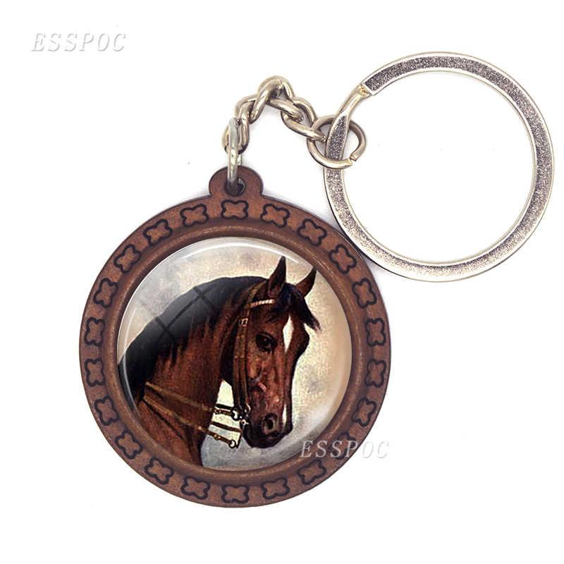Caballo colgante caballo vidrio cabujón llavero de madera accesorios de moda para mujer regalo hecho a mano
