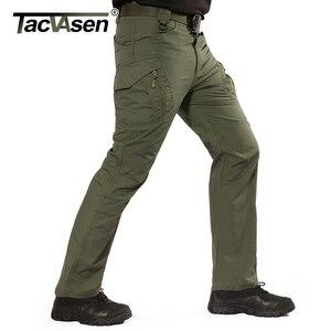 Image 2 - Tacvasen calças táticas dos homens da marinha multi bolsos rip stop carga calças de trabalho militar combate algodão calças airsoft exército caminhada