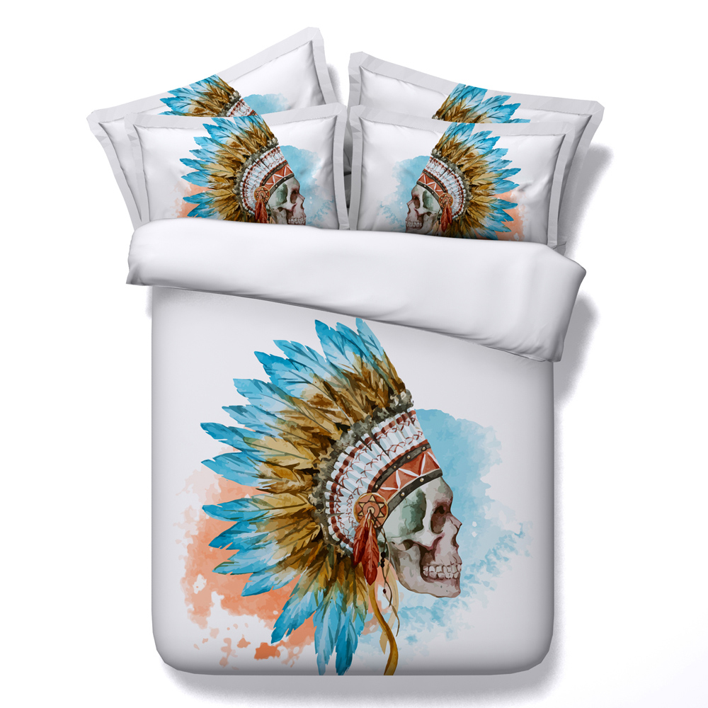 NEW Skyblue Skull Feather Printed Comforter Bedding Sets Twin Full Queen Super Cal King Size Bed Sheets Duvet Covers Adult HomeNEW Skyblue Skull Feather Printed Comforter Bedding Sets Twin Full Queen Super Cal King Size Bed Sheets Duvet Covers Adult Home