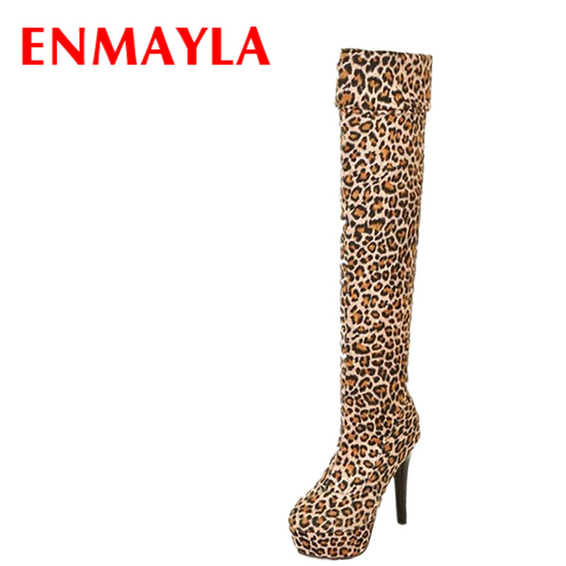 ENMAYLA Sexy Leopard Thigh High Boots Women High Heels Platform Over-the-knee Boots Stiletto Heels Shoes Woman Long Boots high heels over the knee long boots women sexy boots heels snow long boot winter shoes zip thigh high boots platform shoes