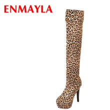 ENMAYER BIG Size34-43  Spring Autumn Women Boots Sexy High Heel Long Over-the-knee Platform Leopard Ladies Shoes