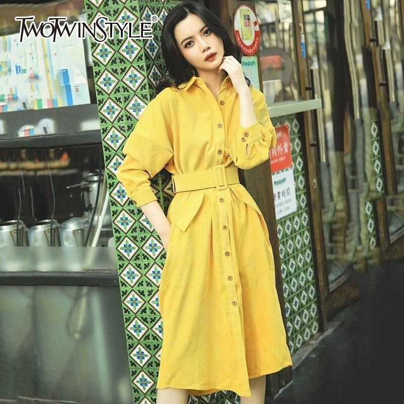 TWOTWINSTYLE Velours Robes Pour Femmes Lanterne Manches Ceinture Taille Haute Poche Midi Robe Féminine Automne Mode Vintage Vêtements