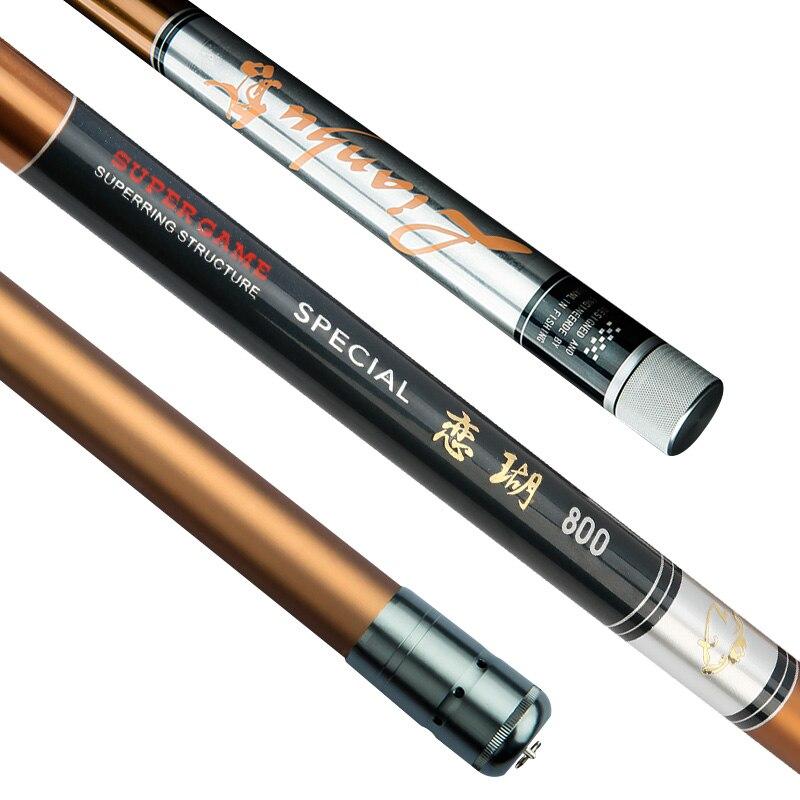 Canne à pêche Super dure haute densité main en carbone canne à poisson super légère 8/9/10/11/12/13/14/15 m canne à pêche