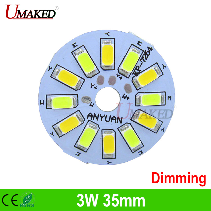 3Wx2 Double color three light mode SMD5730 led lamp panel, 35mm high brightness led aluminum base plate for bulb light free ship 30w 155mm dc12v led pcb input dc 12v needn t driver smd5730 super brightness aluminum lamp plate