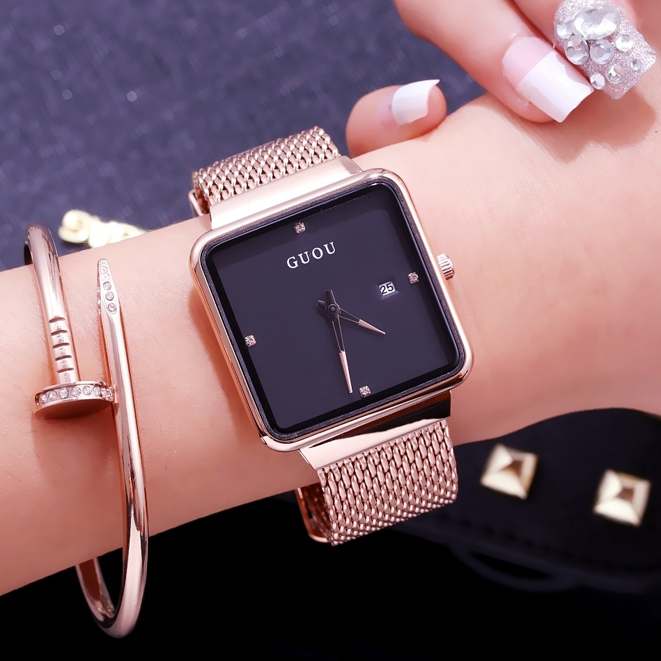 GUOU New Fashion Women Quartz Watches Top Brand Luxury Gold Watch Stainless Steel Mesh Belt Women watch Relogio Feminino