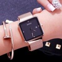 GUOU New Fashion Women Quartz Watches Top Brand Luxury Gold Watch Stainless Steel Mesh Belt Women watch Relogio Feminino