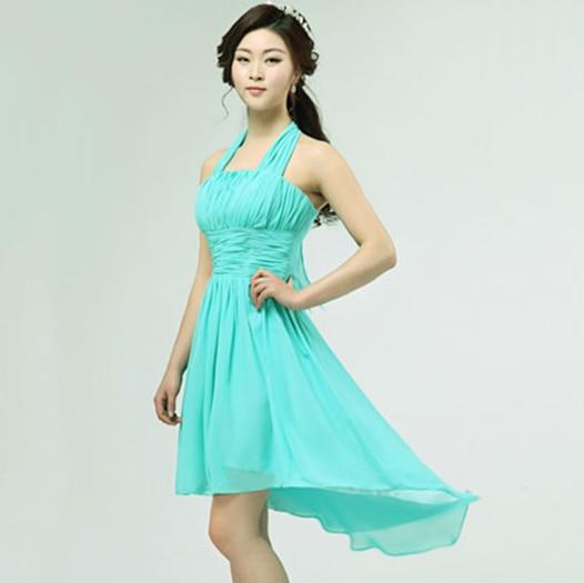 8dd9aad03 Corto de color turquesa verde de gasa para mujer damas de honor vestidos  formales casual una línea de vestidos de dama de honor corto en largo  delantero en ...