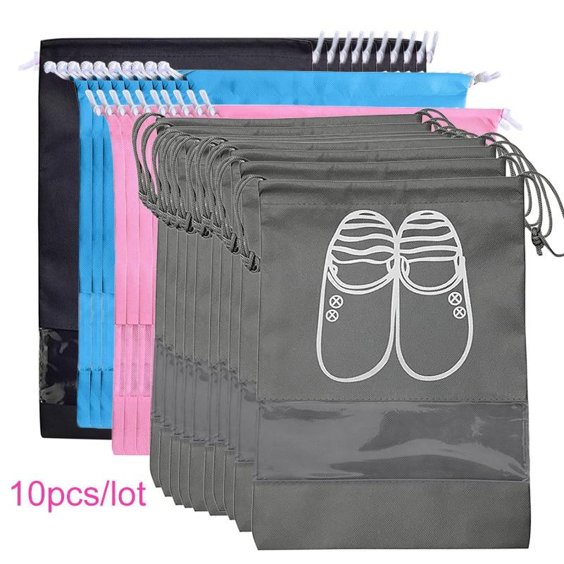 Non-woven Shoes Storage Bag Travel Drawstring Organizer Waterproof Pocket Clothing Classified Storage Closet Hanging Bag 10pcs