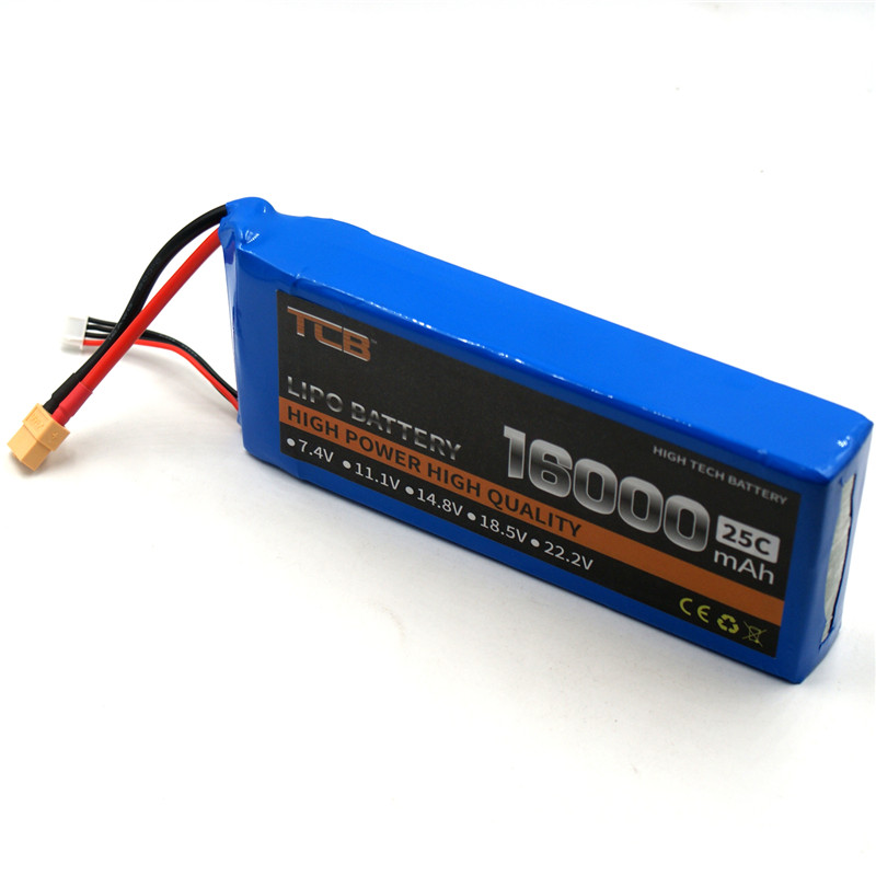 TCB RC LiPo Battery 3s 11.1v 16000mAh 25c for RC Airplane Drone Quadrotor Helicopter Li-ion batteria 1s 2s 3s 4s 5s 6s 7s 8s lipo battery balance connector for rc model battery esc